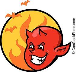 男の子, 悪魔, バッジ, 赤