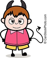 男の子, 悪魔, -, 脂肪, ベクトル, イラスト, 子供, 漫画, ティーネージャー