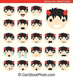 男の子, 悪魔, emoticons