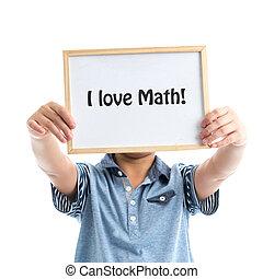 男の子, 愛, 保有物, math!, whiteboard, 背景, 白, メッセージ