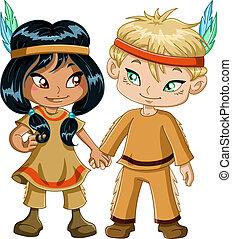 男の子, 感謝祭, indian, 手を持つ, 女の子