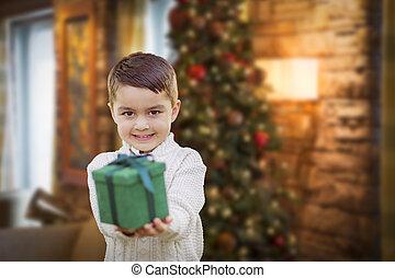 男の子, ∥手渡す∥, 贈り物, 木, 混合された 競争, 前部, クリスマス, から