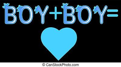 男の子, 手紙, 碑文, プラス, 概念, 青, lgtb, -