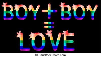 男の子, 手紙, 碑文, 虹, プラス, 概念, lgtb, -