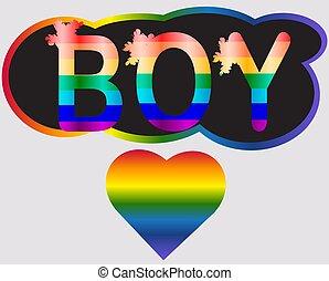 男の子, 手紙, 碑文, 虹, 概念, lgtb, -