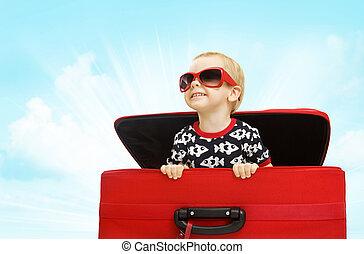 男の子, 手荷物, 内部の見ること, スーツケース, 子供, 赤ん坊, サングラス, 子供, から, 旅行, 幸せ