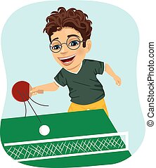 男の子, 打撃, テニス, 遊び, 行動, テーブル, nerd
