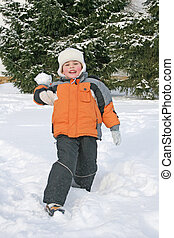 男の子, 投球, 雪