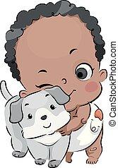 男の子, 抱擁, 犬, イラスト, ベビーよちよち歩きの子