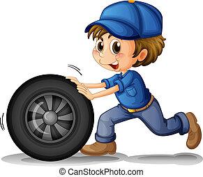 男の子, 押す, 車輪