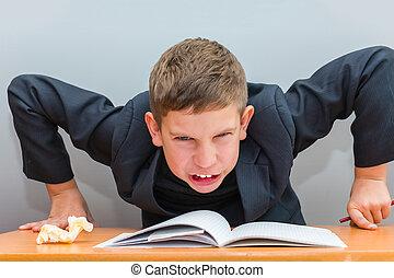 男の子, 持つ, 困難, 宿題