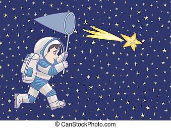 男の子, 捕獲物, star., 宇宙飛行士, 落ちる