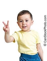 男の子, 提示, 手, 勝利, 背景, 白, 印, 子供