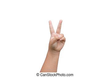 男の子, 提示, 2本の指, 勝利, 背景, 手, 白, 印