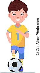 男の子, 操業, ボール, フットボール選手, スポーツウェア