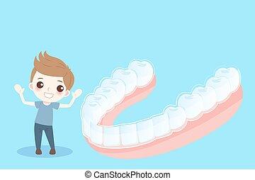 男の子, 支柱, 歯