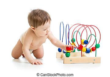 男の子, 教育 おもちゃ, 色, 赤ん坊, 遊び