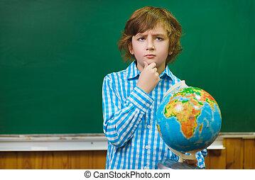 男の子, 教育, 保有物, 考え, 黒板, 地球, 学校, 背景, concept.