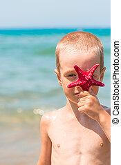 男の子, 星, 縦, 肖像画, 浜, 赤
