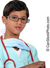 男の子, 服を着せられる, 医者