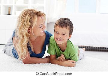 男の子, -, 朝, 母親遊び, 幸せ