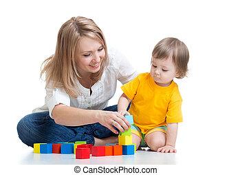 男の子, 木製である, おもちゃ, お母さん, 子供, 遊び