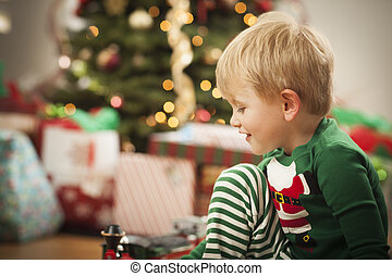 男の子, 木, 若い, 朝, 楽しむ, クリスマス