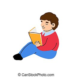 男の子, 本, わずかしか, 読む, かわいい