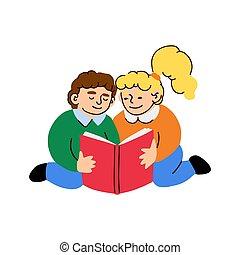 男の子, 本, わずかしか, 読む, 女の子, かわいい