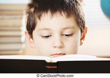 男の子, 本, クローズアップ, 深刻, 読書, コーカサス人