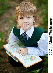 男の子, 本, 公園, 読書