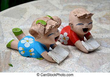 男の子, 本, 粘土, 女の子の読書, 子供, 人形