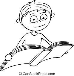 男の子, 本, 読書, イラスト, 漫画