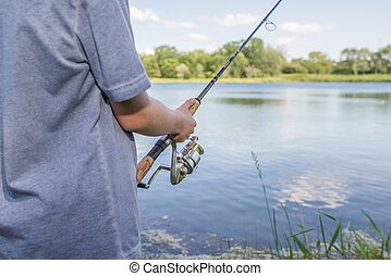 男の子, 棒, 釣り