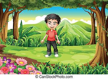 男の子, 森林, ハンサム
