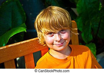 男の子, 植物園, 弛緩, ベンチ