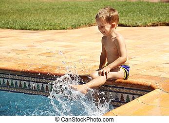 男の子, 楽しみ, 水泳, 持つこと, プール, 幸せ