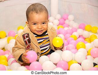 男の子, 概念, 有色人種, ボール, birthday, 黒, playground., 休日, 幼年時代, 幸せ