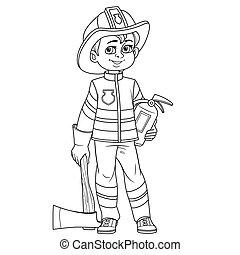 男の子, 概説された, 消火器, 火, かわいい, スーツ, ヘルメット, 消防士, おの, 着色, ページ