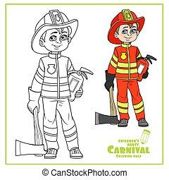 男の子, 概説された, 色, 消火器, かわいい, 火訴訟, ヘルメット, 消防士, おの, 着色, ページ