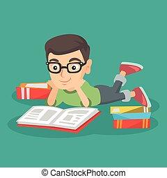 男の子, 横たわる, 床, そして, 読書, a, book.