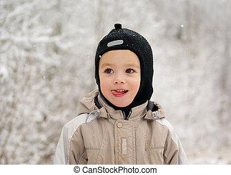男の子, 歩きなさい, 冬