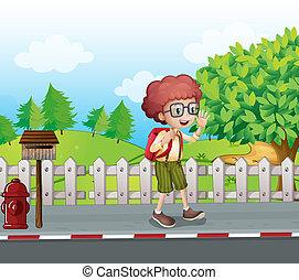 男の子, 歩くこと, バックパック, メールボックス