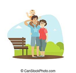 男の子, 歩くこと, 彼の, 家族, モデル, 屋外, 公園, 肩, イラスト, 朗らかである, ∥(彼・それ)ら∥, ベクトル, 親, 父, ベビーよちよち歩きの子, 幸せ
