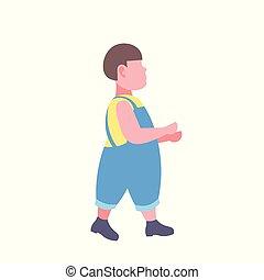 男の子, 歩くこと, 概念, 肥り過ぎである, 特徴, 脂肪, 長さ, フルである, 平ら