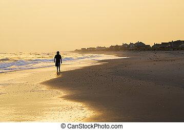 男の子, 歩くこと, 浜。