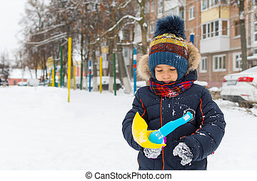 男の子, 歩く, 冬, 屋外で