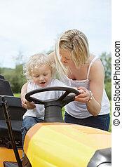男の子, 母, 庭, トラクター, 若い