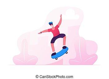 男の子, 活動, 跳躍, マレ, 帽子, skateboarder, 屋外で, 特徴, 漫画, 医学, 19, ...