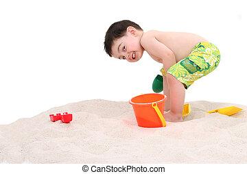 男の子, 浜, 子供
